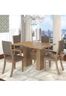 Conjunto Sala De Jantar Mesa Kaly E 4 Cadeiras Kiara Twist Espresso Móveis Fendi/Canela