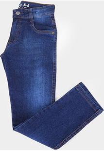 Calça Jeans Juvenil Gansgter Lavada Masculina - Masculino-Azul