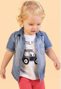 Camisa Jeans Infantil Bebê Menino Manga Curta Hering Kids