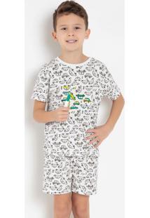 Pijama Infantil Branco Com Canetinhas Bela Notte