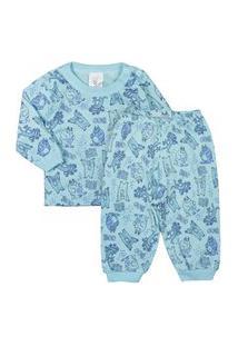 Pijama De Bebê Longo Malha Estampado Turquesa 13 Turquesa