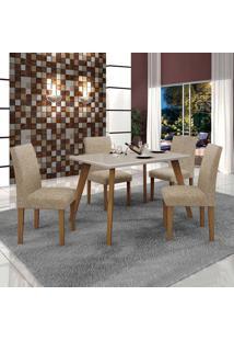 Conjunto De Mesa De Jantar Lavinia Com 4 Cadeiras Olimpia Ii Linho Imbuia Mel Off White