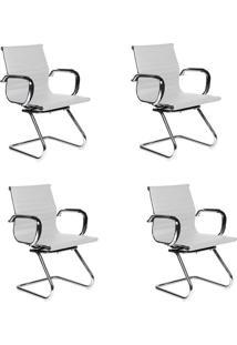 Conjunto Com 4 Cadeiras De Escritório Interlocutor Fixas Eames Best Branco