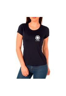 Camiseta Feminina Algodão Básica Estrela Macia Confortável Preto