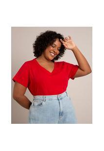 Camiseta Básica Plus Size Manga Curta Decote V Vermelho