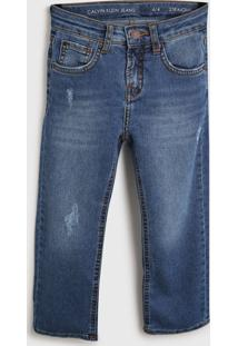 Calça Jeans Calvin Klein Kids Infantil Estonada Azul