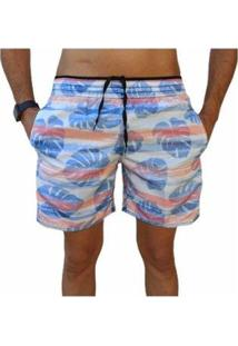 Bermuda Short Moda Praia Estampados Floral Relaxado Masculina - Masculino-Azul Claro