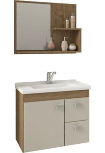 Conjunto Para Banheiro Com 1 Porta E 2 Gavetas Hortência-Mgm - Carvalho / Off White