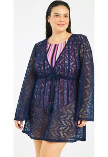 Saída De Praia Vestido Crochet Texturizada Curve & Plus Size