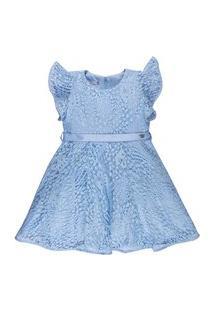Vestido Infantil Em Renda Com Cetim - Anjos Baby Chic Azul