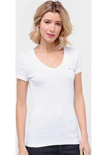 Camiseta Tommy Hilfiger Gola V Feminina - Feminino-Branco