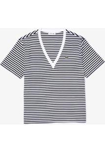 Camiseta Lacoste Gola V Feminina - Feminino-Marinho+Branco