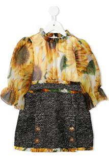 Dolce & Gabbana Kids Vestido Com Paetês - Amarelo
