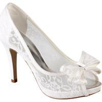 07200eb1a9 Peep Toe Spaço Criativo De Renda Transparente Luxo - Feminino-Branco