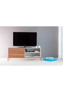 Rack Tv Contemporâneo-Moderno Eric 1200 Mdf Branco Pés Madeira Cor Jatobá Porta De Madeira De Correr - 126X43,6X48,5 Cm