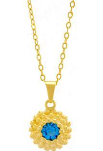 Gargantilha Horus Import Ponto Luz Flor Aquamarine Banhada Ouro Amarelo 18 K - 1061122