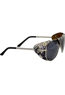 Óculos Aviador Proteção Couro Cobra