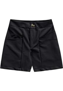Shorts Pu Recortes Preto