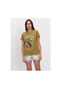 T-Shirt Básica Com Manga Curta Lança Perfume T-Shirt Verde