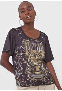 Camiseta Triton Aplicaã§Ãµes Preta - Preto - Feminino - Poliã©Ster - Dafiti