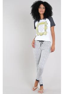 Pijama Feminino Friends Raglan Manga Curta Off White
