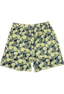 Bermuda Masculina Elástico Estampa Folhagem Conforto Casual - Masculino-Amarelo