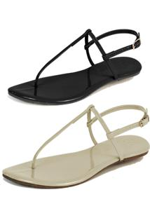 Kit 2 Pares Rasteiras Flat Simples Mercedita Shoes Verniz Preto E Verniz Gelo - Preto - Feminino - Dafiti