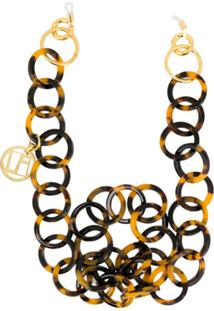 Linda Farrow Tortoiseshell Hoop Chain Necklace - Marrom