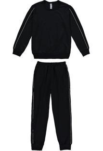 Conjunto E Pijama Preto Em Moletinho Menino Tal Fi