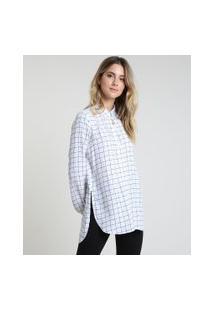 Camisa Feminina Estampada Quadriculada Manga Bufante Gola Esporte Branca