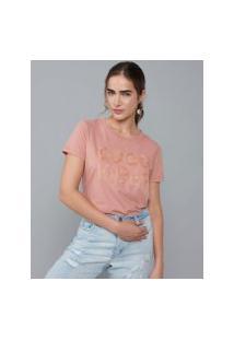 Amaro Feminino T-Shirt Bordado Good Vibes, Rose