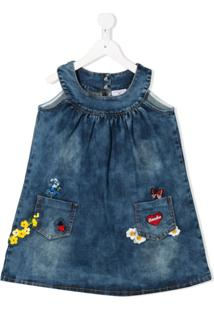 Monnalisa Vestido Jeans Bordado - Azul