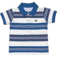 Camisa Polo Lacoste Kids Listras Menino Azul Branco c3618442db