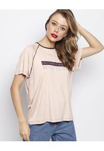 Camiseta Com Inscriã§Ãµes & Recortes- Ros㪠& Roxo Escuro