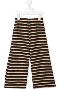 Caffe' D'Orzo Calça Pantalona Com Listras Metalizadas - Marrom