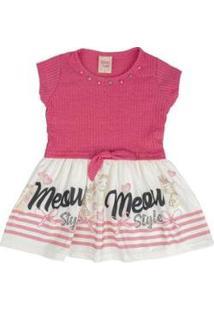 Vestido Bebê Strass Manga Curta Estampa Gata Besni - Unissex-Rosa