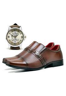 Sapato Social Urbano Com Relógio New Masculino Dubuy 821Db Marrom
