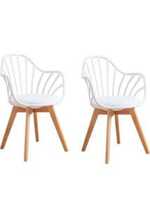 Conjunto Com 2 Cadeiras Laris Tulipa Com Braços Base Madeira Branco