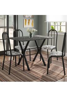 Conjunto De Mesa Miame 110 Cm Com 4 Cadeiras Madri Preto E Branco Floral