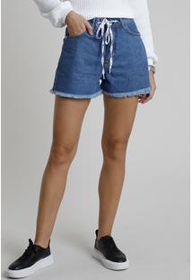 Short Jeans Feminino Bbb Cintura Super Alta Com Cadarço Barra Desfiada Azul Médio