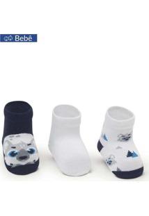 Kit Com 3 Meias Puket 6963 1643/100-Azul/Branco