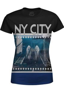 Camiseta Estampada Baby Look Over Fame New York Azul