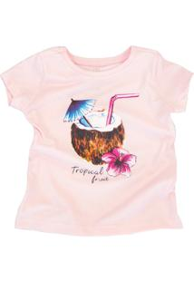 Camiseta Doll Up Tropical Fruit Manga Curta Menina Rosa