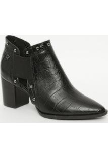 Ankle Boot Em Couro Com Textura Animal- Preta- Saltocapodarte