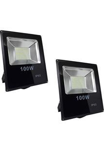 Refletor Led 100W Smd Holofote Bivolt Prova D´Água Branco Frio Kit 2