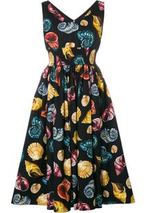 Dolce & Gabbana Vestido Evasê Estampado - Preto