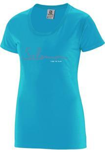 Camiseta Salomon Time To Play Tee Feminino G Azul Claro
