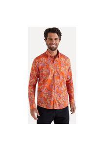 Camisa Ml Estampada Citrus Casual Reserva Laranja