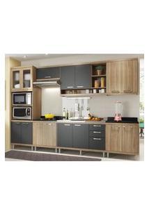 Cozinha Completa Multimóveis Com 7 Peças Sicília 5834 Argila/Grafite