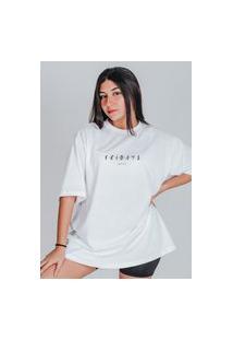 Camiseta Feminina Oversized Boutique Judith Fridays Branco